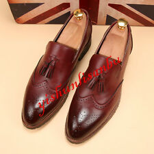 New Mens oxford Style Brogue loafer Pointed Toe Slip On Dress Shoes Tassels Size