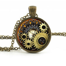 LC_ EC_ JEWELRY STEAMPUNK COMPASS GEARS COG CABOCHON GLASS PENDANT NECKLACE GI