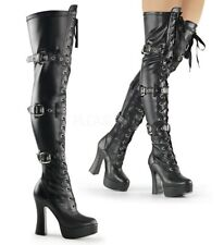 Pleaser Electra 3028 Black Faux Leather Thigh High Boots Straps & Buckles