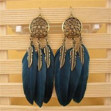 H:HYDE Dream Catcher Hollow out Vintage Leaf Feather Dangle Earrings For Women B