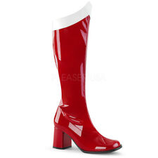 PLEASER FUNTASMA GoGo-306 Red Patent Stretch Superhero Costume Knee High Boots