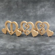 MDF Wooden Wedding Freestanding Table Name Numbers With Hearts Holders Craft