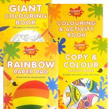 GIANT COLOURING BOOKS COPY & COLOUR / A4 RAINBOW PAPER PADS FOR KIDS CRAFTY TIME