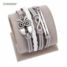 Antique Owl Engrave Charm Leather Bracelet Various Style Butterfly & LOVE & Anch