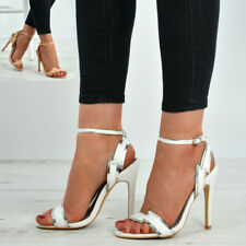 New Womens Ladies Ankle Buckle Strap Peep Toe Stiletto Heels Sandals Shoes Size