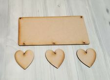 WOODEN MDF PLAQUE WITH HANGING HEARTS, READY TO HANG AND DECORATE, CRAFT BLANK