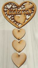 WOODEN MDF MUM HEART PLAQUE WITH HANGING HEARTS, READY TO HANG AND DECORATE