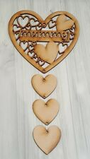 WOODEN MDF MUMMY HEART PLAQUE WITH HANGING HEARTS, READY TO HANG AND DECORATE