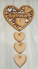 WOODEN MDF NAN HEART PLAQUE WITH HANGING HEARTS, READY TO HANG AND DECORATE