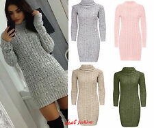FEMME DAME LONGUES MANCHES GROS COL col polo Câble Pull tricot mini robe 8-14