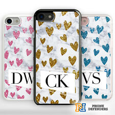 PERSONALISED MARBLE Phone Case Cover Heart Glitter for iPhone Samsung Hard/Rubbe