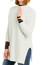 Ladies Long Slouch Ivory Cotton Wool Mix Polo Neck Jumper UK Size 8-22 EU 34- 48