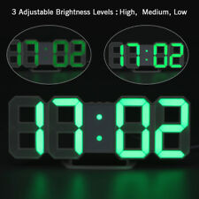 LED Digital Números Reloj de pared 3d PANTALLA BRILLO Alarma REPETICIÓN ALARMA