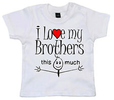 "Gracioso Camiseta para bebé ""I Love My Brother SISTER HERMANAS This Much"""