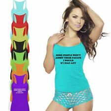 Ladies Womens People Won't Admit There Faults Vest Top RacerBack Gym Sports Lot