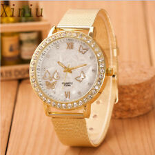 Women Watches Crystal Butterfly Gold Stainless Steel Mesh Wrist Ladies Watch Dia