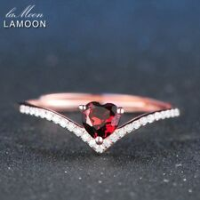 Lamoon 4Mm 0.3Ct 100% Natural Heart Cut Red Garnet Ring 925 Sterling Silver Jewe