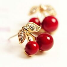 New Fashion Cute Lovely Red Cherry Earrings Rhinestone Leaf Bead Stud Earrings F