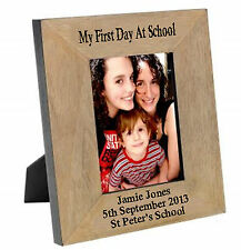 My First Day At School Solid Oak engraved wood frame personalised  gift CD10
