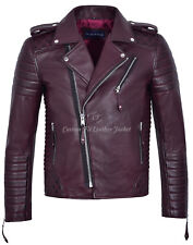 Men's Leather Jacket Cherry Quilted Smart Fit Biker Style Brando 100% REAL 2250
