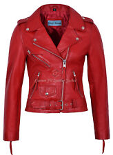 Ladies Red Leather Jacket Brando Fitted Urban Biker Style 100% Real NAPA MBF