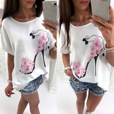 Women Lady Casual Baggy Blouse Floral Print T Shirt Loose Pullover Summer Tops
