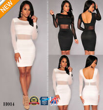 Women's Bandage Dress Black Long Sleeve Mesh Patchwork Hollow Out Bodycon H014
