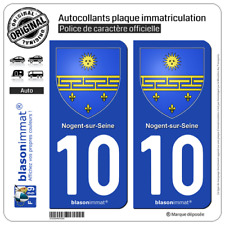 2 Stickers autocollant plaque immatriculation : 10 Nogent sur Seine - Armoiries