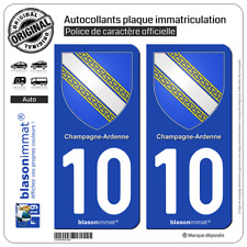 2 Stickers autocollant plaque immatriculation : 10 Champagne Ardenne - Armoiries