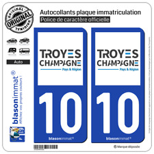 2 Stickers autocollant plaque immatriculation : 10 Troyes - Agglo