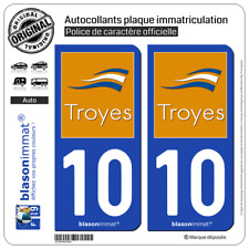 2 Stickers autocollant plaque immatriculation : 10 Troyes - Ville
