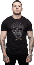 MILLIONAIRE MENS SKULL T-SHIRT - BLACK WITH SKULL EMBROIDERY ON FRONT