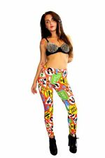 Mujer UNIQUE Multi ROAD signos FUNKY leggings estampados Rock n Roll tamaño 8-22