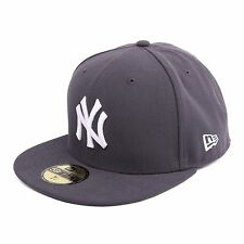 New Era MLB Basic Yankees de YORK Casquette ajustée Bonnet, couleur gris/blanc,