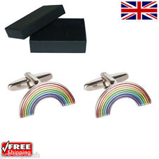 Cool Men's Women's Colourful Rainbow Gay Lesbian Pride Cufflinks & Gift Box