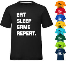 Eat Sleep Game Repeat T-Shirt Boys Novelty Tee Top Ages 2 To 12 Years