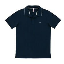 POLO EL. SMALL STRIPES ON COLLAR UOMO SUN 68 COLORE BLUE NAVY ROSSO AVION E V...
