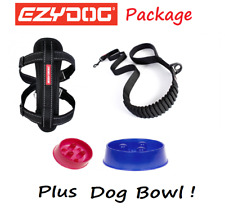 EZYDOG PACKAGE BLACK Zero Shock 48 Dog Lead & Chest Plate Harness - FREE BOWL