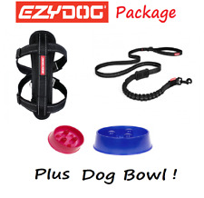 EZYDOG PACK - BLACK Zero Shock Lite Dog Lead & Chest Plate Harness FREE BOWL
