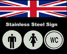 STAINLESS STEEL TOILETS OFFIC PUB SHOP BUSINESS BATHROOM DOOR SIGNS NOTICE PLATE