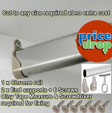 Wardrobe Rail Oval Hanging Rails 300mm - 2400mm with Free End Supports & Screws