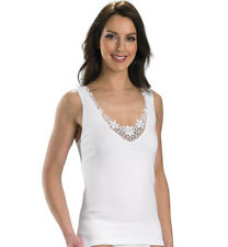 Slenderella Ladies 100% Cotton Camisole Lace Detail Tank Top Sleeveless Cami