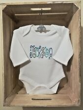 WHITE BABY VEST / BODYSUIT UNISEX PERSONALISED NAME EMBROIDERED GIFT BABY SHOWER
