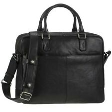 Greenburry Business Borsa OLEOSO Tumbled donna uomo Nero Pelle Borsa a tracolla