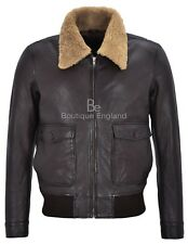 Johnson Men's Real Leather WW2 Brown Wrinkle Shearling Collar Bomber Jacket 3070