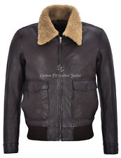 Mens Leather Jacket Brown Wrinkle Shearling Collar 100% REAL LEATHER JACKET 3070