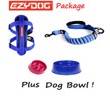 EZYDOG PACKAGE BLUE Zero Shock 25 Dog Lead & Chest Plate Harness - FREE BOWL