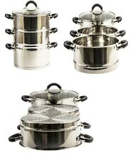 High Quality 20cm 24cm & 28cm 3 Tier Stainless Steel Steamer W/ Glass Lid Cooker