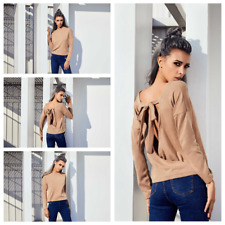 Women Long Sleeve Crew Neck Pullover Bowknot Wrap Top Sweater Jumper Blouse Tops