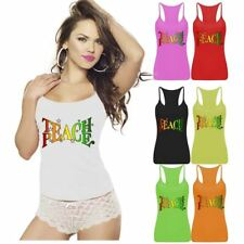Ladies Womens Teach Peace Logo Printed Vest Top Sports Strappy RacerBack Gym